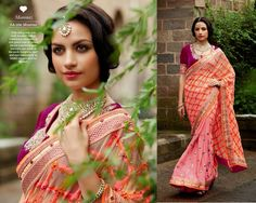 Soft pink and peach sari with detailed Indian traditional elements. A rich jewel tone of velvet blouse combined with intricate zari work at the neck. Gorgeous 'aari' and zari embroidery in bridal colours all over the sari.