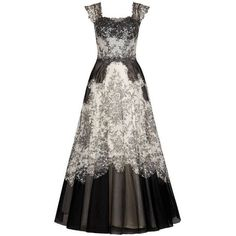 1950s Bergoff Goodman Lace Ball Gown ❤ liked on Polyvore featuring dresses, gowns, lace gown, white lace ball gown, panel dress, white evening dresses and white lace dress