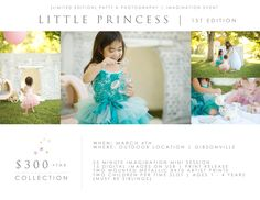 "This March !! Little Princess is based off this Imagination Sibling Session I had last year. Mom wanted a ""One Year Tea Party"" for Lucy and we included her big sisters. I made this as a Mini Event because I have had so many momma's bummed over the years when there ""Princess in Training"" could not participate in my Events. PKP is about safety first, so most of my Events are not safe for your little one year old or toddler.  Email pattyk@pattykphotgraphy.com for more info !!!"