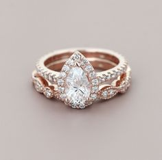 Don't be afraid to mix and match! The Heroine Accented Engagement Ring and Amore Vintage Diamond Wedding Band make the perfect rose gold pair