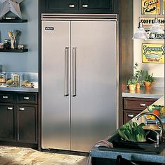 Viking Professional 5 Series Side by Side Built-in Refrigerator with Quiet Cool - Stainless Steel - Clearance Model - Surface Scratches Side Panel Built In Refrigerator, Side By Side Refrigerator, Refrigerator Freezer, Retro Appliances, Viking Appliances, White Appliances, Kitchen Appliances, Kitchens, Doors