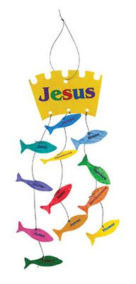 "An adorable craft to hang in your room! It helps us to remember the biggest catch of all! Jesus calls his 12 disciples by name and teaches them to be fishers of men! Incluldes preprinted crowns and fish, and precut cord. Decorating supplies sold separately. 5"" x 14""."