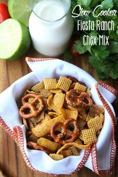 Crockpot Fiesta Ranch Chex Mix - FamilyFreshMeals.com