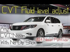 2013-2016 Nissan Pathfinder CVT fluid check & adjust - Any Nissan CVT w/out a Dip Stick - http://autofixpal.com/2013-2016-nissan-pathfinder-cvt-fluid-check-adjust-any-nissan-cvt-wout-a-dip-stick/ - https://www.youtube.com/watch?v=HTXM5SbznEM