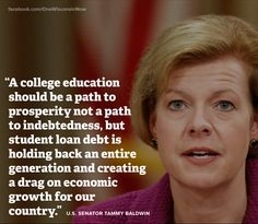 This woman has got right! Education System, Higher Education, Dumb Americans, Student Loan Consolidation, Liberal Politics, Political Quotes, Student Loan Debt, Education College, Wisconsin
