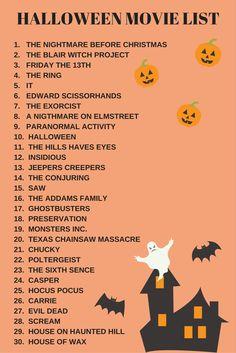 30 X Halloween Films - New Deko Sites Scary Movie List, Halloween Movies List, Halloween Movie Night, Movie To Watch List, Halloween Inspo, Scary Movies, Costume Halloween, Holidays Halloween, Halloween Horror