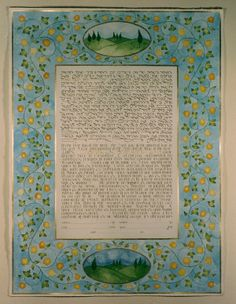 a day and night view of the land around the couples' family country house, one of their favorite places, with a stylized version of the yellow flowers that explode in the spring by theketubah.com