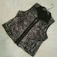 Like New reversible vest Soft & Plush animal print one way, reverse and a black quilted feel vest. Full front zipper and invisible slit side pockets. Casual Idenity Jackets & Coats Vests