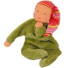 $22 Nicki Baby Waldorf Doll from Kathe Kruse is dressed in a sage green soft cotton velour sleeper and wears a cotton knit striped cap designed to satisfy teething babies. Oeko-Tex certified to be free of harmful substances.