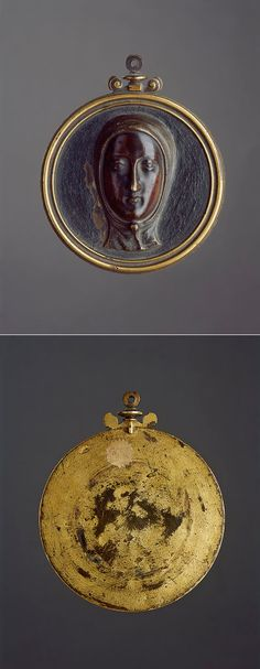 A Fine Italian Renaissance Gilt Bronze Relief Roundel of Saint Catherine of Sienna  With old inventory label to the reverse '5659'  16th Century – circa 1550