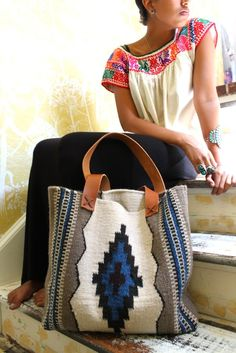 Image of ROAD TRIP WOOL WEAVING + SADDLE LEATHER BAG // BLUE