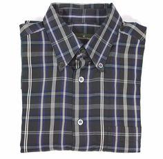 ERMENEGILDO ZEGNA Plaid Check Blue Cotton Button Collar Mens L/S Shirt L EUC #ErmenegildoZegna #ButtonFront