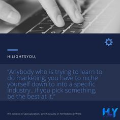 """""""Anybody who is trying to learn to do marketing is you have to niche yourself down to into a specific industry…if you pick something, be the best at it."""" . . . . . #digitalmarketingagency #digitalmarketingexpert #searchengineoptimization #socialmediamarketing #websitedesigningcompany #affordabledigitalmarketing #digitalmarketing #socialmedia #emailmarketing #optimization #rank #digitalmarketingstrategy #digitalmarketingtips #seooptimization #digitalmarketer #seotips Digital Marketing Strategy, Digital Marketing Services, Social Media Ad, Social Media Marketing, Seo Optimization, Ecommerce Solutions, Search Engine Marketing, Mobile Application Development, Internet Marketing"""