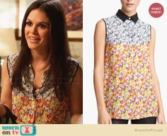 Zoe's two-tone floral top with leather collar on Hart of Dixie.  Outfit Details: http://wornontv.net/30573/ #HartofDixie