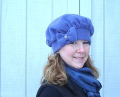 Fleece Hat for Women -  Winter Fleece Hat for Women - French Beret Boxy Hat with Bow- MADE TO ORDER. $18.00, via Etsy.