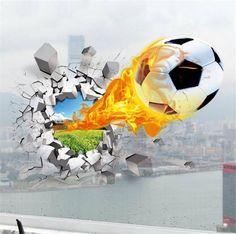 Football Boy 3D Wall Art Stickers. FREE SHIPPING – ANE Smart Shops