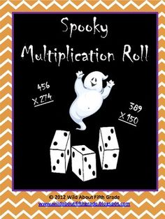 FREE Halloween themed multiplication dice game to reinforce CCSS accuracy of multiplication by multi-digit numbers.  This product contains: Rules for Spooky Multiplication Roll and Spooky Multiplication Roll Recording Sheet  This game can be differentiated for varying skill levels by rolling for smaller or larger factors to multiply.  This game is perfect for math centers, early finishers, math daily 5, intervention, 10-minute math, and/or a Halloween Party game.