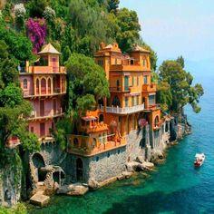 Houses on rocks in Portofino Italy