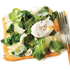 Arugula Pizza with Poached Eggs |