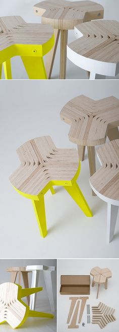 Plywood - but could be cardboard-table qui s'emboîtent, s'assemblent tel un puzzle=ludique dans le pratique
