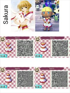 Animal crossing new leaf QR code. This is Sakura from Tsubasa RC. visit peanutfashions.tumblr.com for full resolution codes.