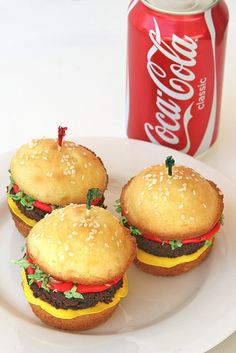 Burger cupcakes  cut cupcake in half, use brownie for the burger, coloured icing for the ketchup and cheese and dyed coconut for the lettus