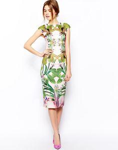 Ted Baker | Ted Baker Safiya Midi Dress in Jungle Orchid Neoprene at ASOS