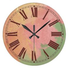 Pink Green and Gold Watercolor Effect Wall Clocks