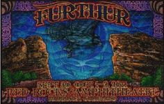 Original lenticular concert poster for Furthur at Red Rocks in Morrison, CO in 2012. 12 x 18 inches. Artwork by Michael Everett. This is a 3D lenticular poster printed on a plastic lens. It really must been seen in person to appreciate how beautiful it is!