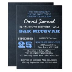 Letterpress printed bar mitzvah greeting card perfect to go with any chalkboard blue bar mitzvah invitation m4hsunfo