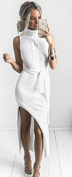 White Knit Maxi Dress                                                                             Source