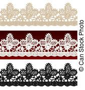 Openwork lace seamless border Realistic vector illustration...