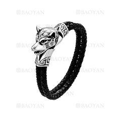 pulsera de artesanal con cabeza de lobo de moda sencilla en acero-SSBTG1144484