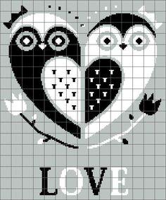 Owl Love Graphghan Graph - Crochet - Cross Stitch - Pattern - em: etsy.com