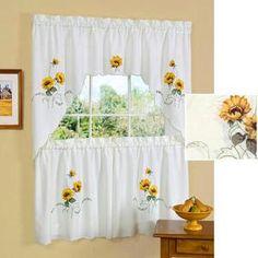 3 PC SUNFLOWER Kitchen Curtains Tier U0026 Swag Set Embellished Curtains  Sunflowers