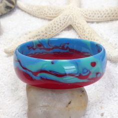 Bangle bracelet handcrafted from recycled by resinandwoodworld, $24.50