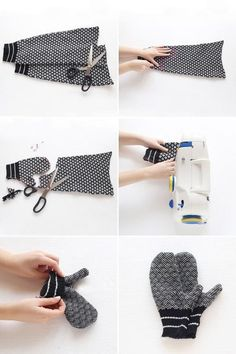 Sweater mittens, old sweater diy, jumper, sewing crafts, easy sewing projec Easy Sewing Projects, Sewing Hacks, Sewing Crafts, Crochet Projects, Sweater Mittens, Crochet Mittens, Jumper, Wool Sweaters, Old Sweater Diy
