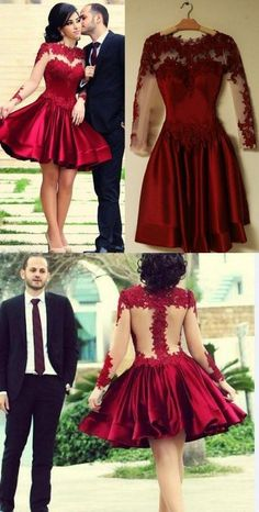 Short Homecoming Dress,Burgundy Prom Dress,Full Sleeve Prom Gown,Wedding Party Dress by fancygirldress, $135.00 USD