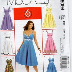 McCall's Sewing Pattern Retro Style Rockabilly Tea Dress High Empire Waist Full Flared Circle Skirt Sleeveless Plus Size Uncut Bust 34 to 40...