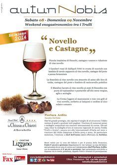 Autunno è anche Vino Novello e Castagne! Saranno proprio loro i protagonisti del prossimo weekend enogastronomico fra i Trulli, insieme a una selezione di Vini delle Cantine Lizzano.  Media partner Fax Online  #food #lachiusadichietri #weareinpuglia