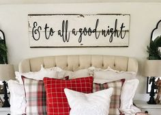 Large Painted And To All a Good Night Christmas Words Wood Cut Wall Art Sign Decor White wood background NOT included