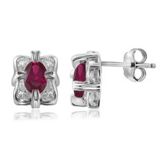 Jewelonfire Sterling Silver 1ct TW Ruby and Diamond Accent Earrings, Women's