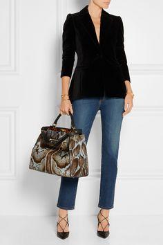 Fendi Peekaboo large printed calf hair tote + jeans + black blazer