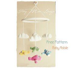 Amigurumi Uçaklı Dönence Tarifi-Free Pattern Amigurumi Baby Mobile