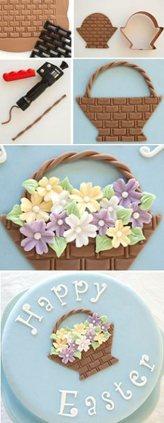 How to make fondant Easter baskets for decorating cakes, etc. (Cake Journal). Some great techniques!