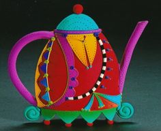 Polymer clay teapot by Rebecca Zimmerman
