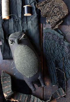 owl made form edwardian garments Ann Wood, Tiny Dolls, Soft Sculpture, Bird Feathers, Wood Art, Art Dolls, Avocado, Sewing Projects, Arts And Crafts