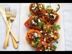 Stuffed rainbow capsicums with a Middle Eastern-inspired lamb and couscous filling. This dish is perfect for a light summer supper. Couscous, Bruschetta, Lamb, Middle, Rainbow, Dishes, Meat, Chicken, Inspired