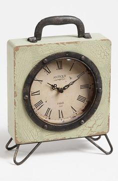'Billie' Vintage Iron Table Clock available at #Nordstrom