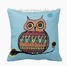 Talavera owl toss pillow square 16x16 made to by TheRusticHome